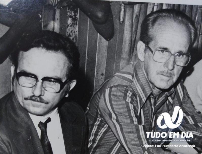 Prefeito Antônio Teodoro Alvarenga e Vice Prefeito João Almeida de Medeiros, eleição de 1976.  (Foto: Luiz Humberto Alvarenga, cedida ao Tudo Em Dia)