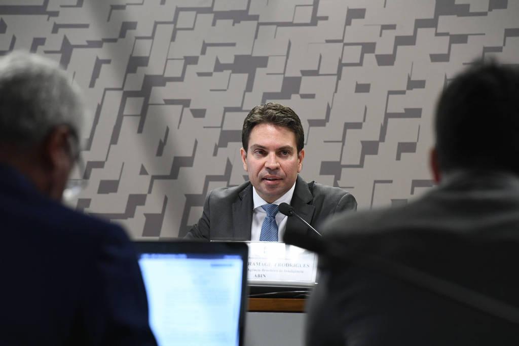 Alexandre Ramagem em sabatina Comissão de Relações Exteriores e Defesa Nacional, antes de ocupar o cargo de diretor-geral da Agência Brasileira de Inteligência - Marcos Oliveira/Agência Senado