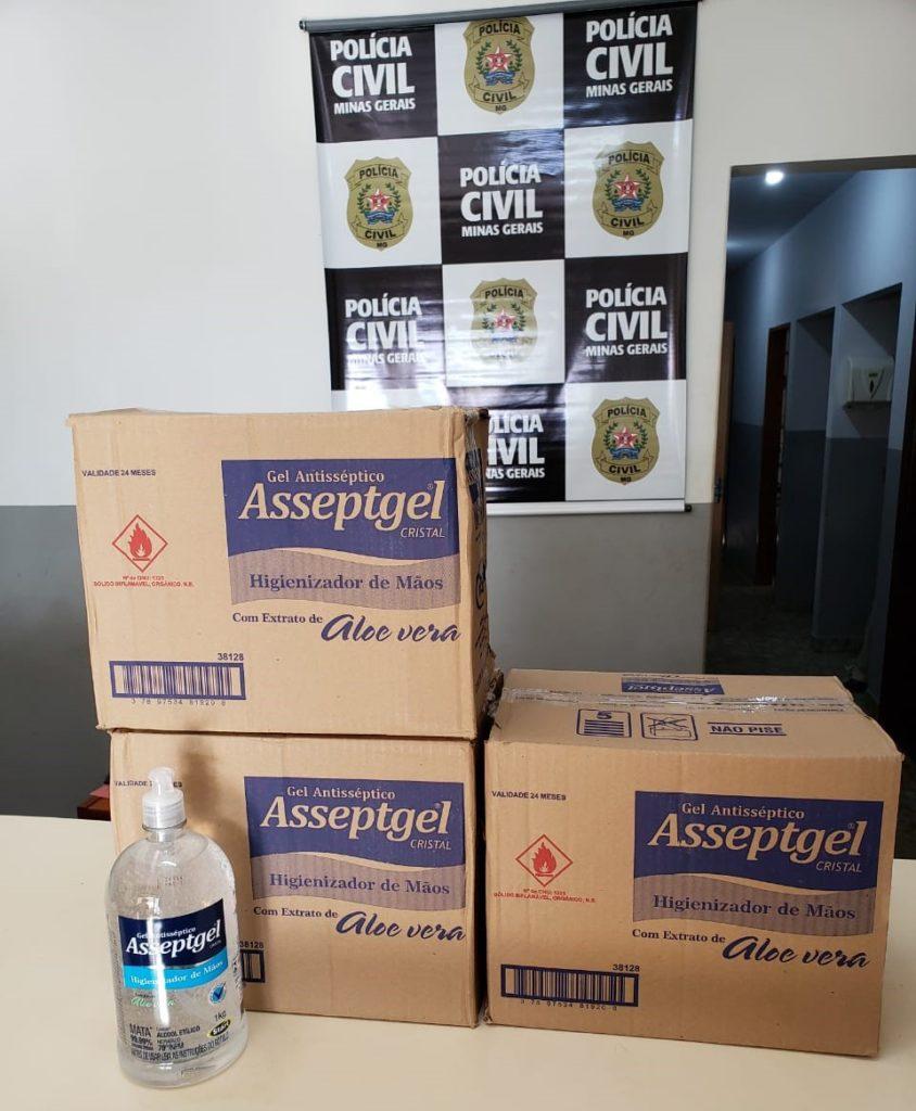 Álcool gel adquirido pela Polícia Civil. O carregamento de máscaras deve chegar na próxima quarta-feira (15.abr.2020)   Foto: PCMG/Divulgação