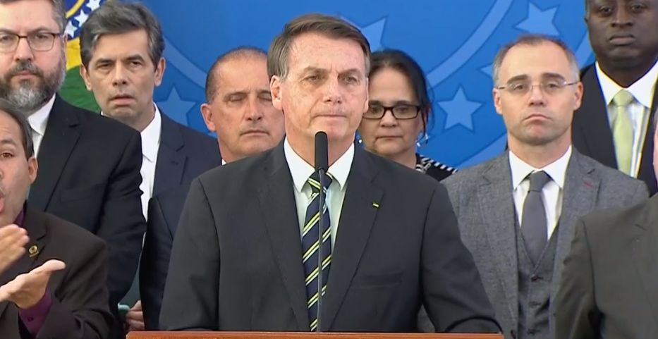 Presidente Jair Bolsonaro durante pronunciamento nesta sexta-feira (24.abr.2020)   Foto: Reprodução Tv Brasil