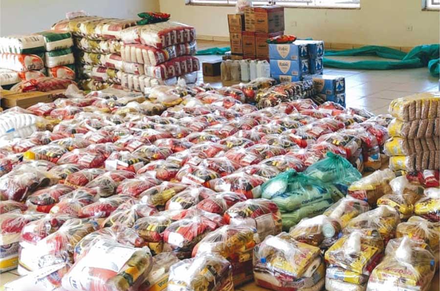 Alimentos arrecadados durante Live solidária em comemoração aos 66 anos de Capinópolis | Foto: Divulgação