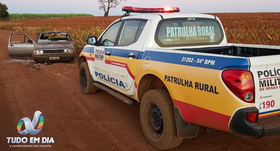 Veículo foi encontrado abandonado na manhã desta quinta-feira (23.jul.2020) | Foto: PMMG/Divulgação